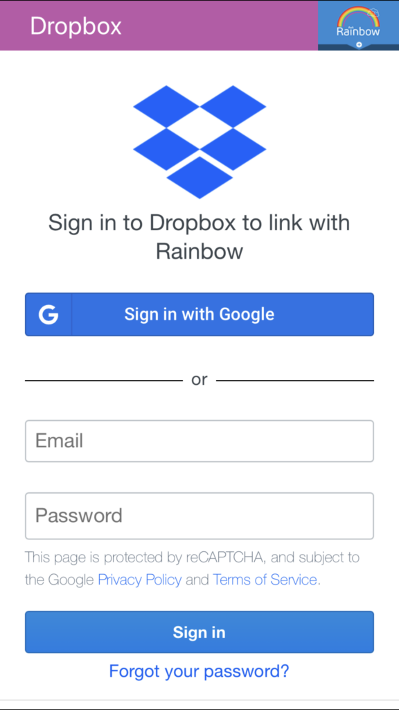 Rainbow: Dropbox's login screen