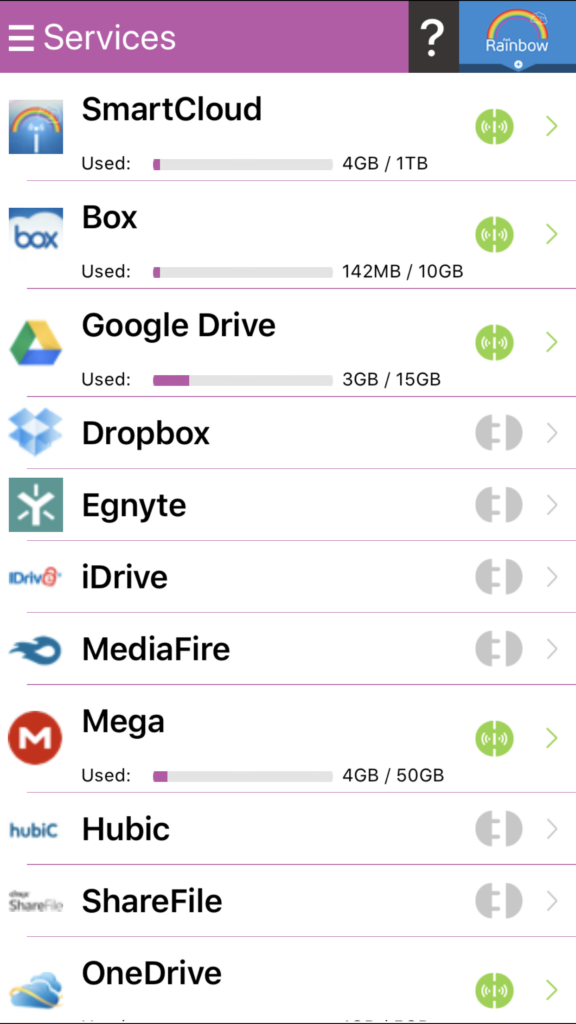 Rainbow: Inactivate the Dropbox account