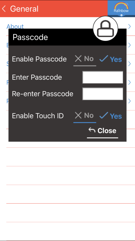 Rainbow: Enable passcode protection